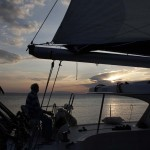 Sailing near the Croatian coast Our first night on the Huck Finn catamaran in Croatia was magical. With our amazing captain we sailed under the setting sun. The first of many beautiful moments. -Susan, Oregon