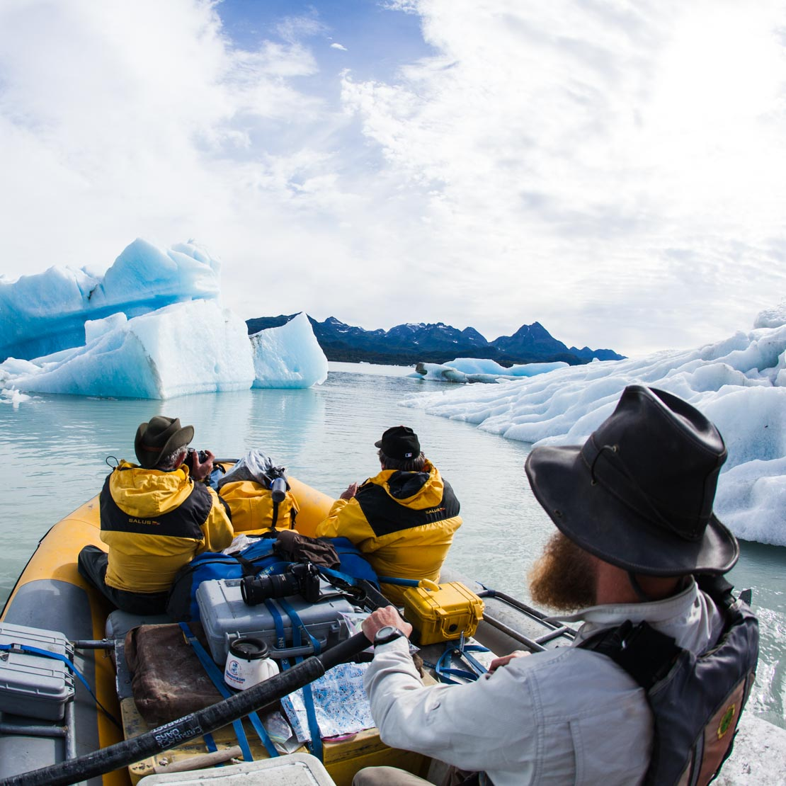 Alaska Rafting Between Icebergs