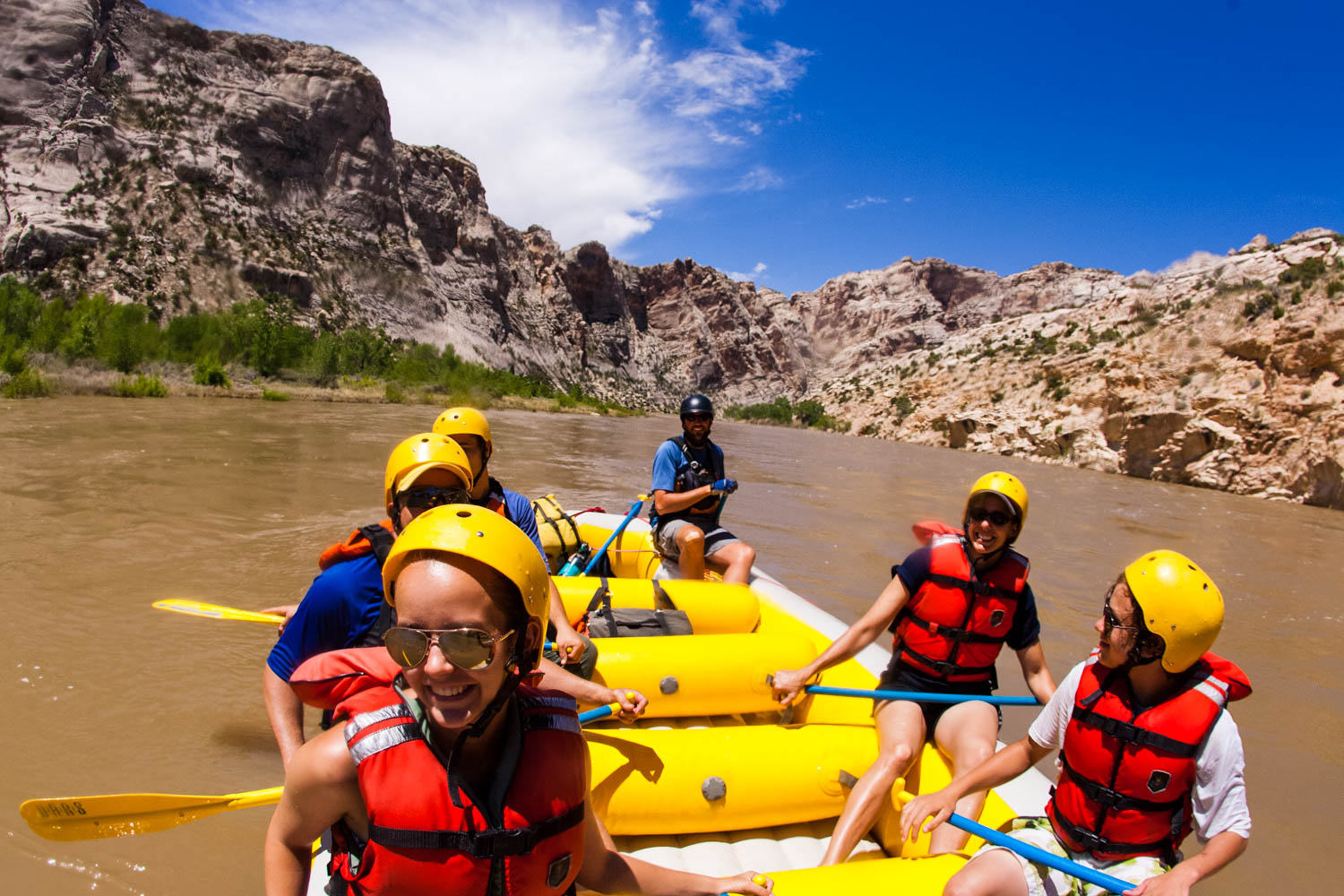 Our daily Utah river rafting expedition through Split Mountain Canyon on the Green River covers approximately nine river miles. There are four Class II - III rapids in this stretch of the Green River: Moonshine, S.O.B., Schoolboy and Inglesby. This day rafting trip is the perfect mix of spectacular scenery with just enough whitewater splashing to add a little spice.