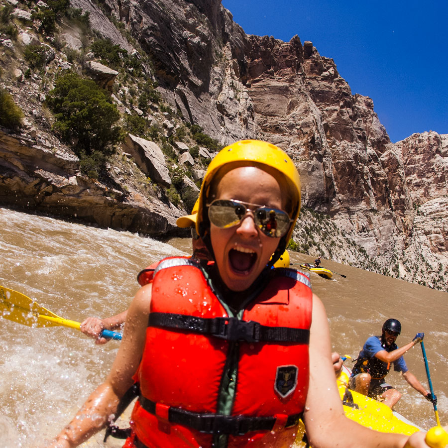 Whitewater rafting through the Split Mountain section of the Green River which flows through Dinosaur National Monument in northeastern Utah.