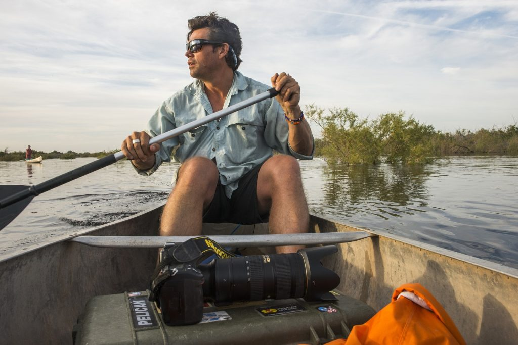 Pete McBride paddling Colorado River pulse flow